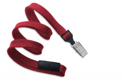 "Red Breakaway Lanyard 3/8"" (10 mm) w/ Nickel-Plated Steel Bulldog Clip (100/Pkg)"