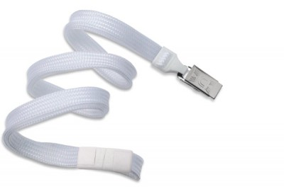 "White 3/8"" (10 mm) Breakaway Lanyard w/ Nickel-Plated Steel Bulldog Clip (100/Pkg)"