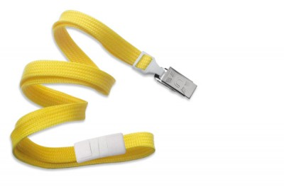 "Yellow Breakaway Lanyard 3/8"" (10 mm) w/ Nickel-Plated Steel Bulldog Clip (100/Pkg)"