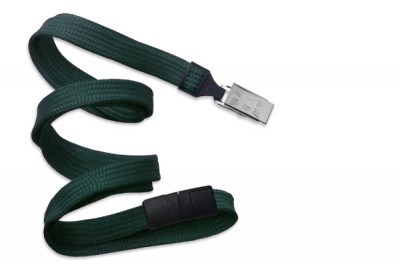 "Forest Green 3/8"" (10 mm) Breakaway Lanyard w/ Nickel-Plated Steel Bulldog Clip (100/Pkg)"