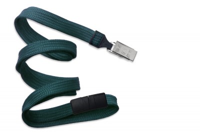 "Teal 3/8"" (10 mm) Breakaway Lanyard w/ Nickel-Plated Steel Bulldog Clip (100/Pkg)"