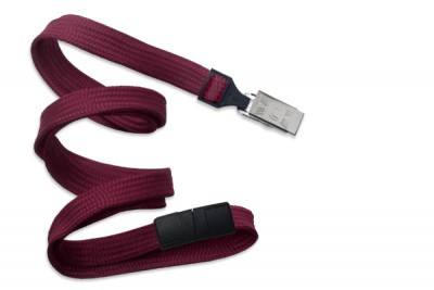 "Maroon 3/8"" (10 mm) Breakaway Lanyard w/ Nickel-Plated Steel Bulldog Clip (100/Pkg)"
