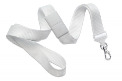 "White 5/8"" (16 mm) Breakaway Lanyard w/ Trigger Snap Swivel Hook (1000/Pkg)"