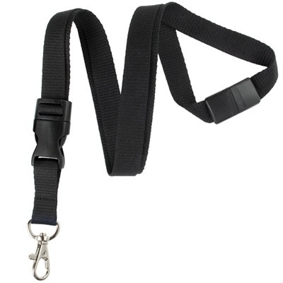 Black Detachable Breakaway Lanyard (100/Pkg)