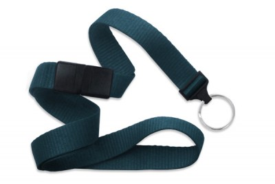"Teal 5/8"" (16 mm) Breakaway Lanyard w/ Nickel-Plated Steel Split Ring (100/Pkg)"