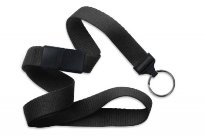 "Black 5/8"" (16 mm) Breakaway Lanyard w/ Black-Oxide Split Ring (1000/Pkg)"