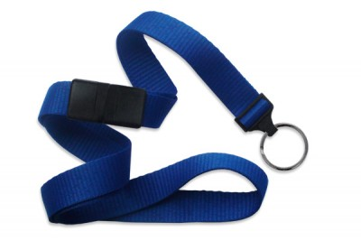 "Royal Blue 5/8"" (16 mm) Breakaway Lanyard w/ Black-Oxide Split Ring (1000/Pkg)"