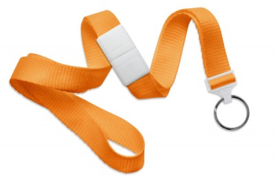 "Orange 5/8"" (16 mm) Breakaway Lanyard w/ Black-Oxide Split Ring (1000/Pkg)"