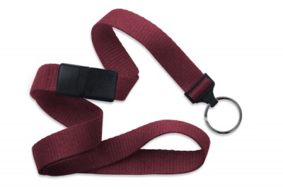 "Maroon 5/8"" (16 mm) Breakaway Lanyard w/ Black-Oxide Split Ring (1000/Pkg)"