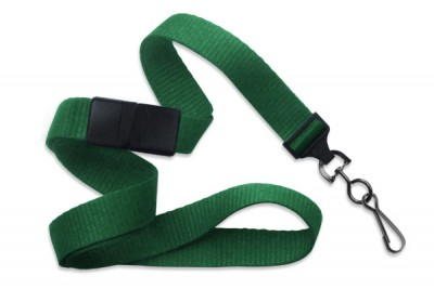 "Green 5/8"" (16 mm) Breakaway Lanyard w/ Black-Oxide Swivel Hook (1000/Pkg)"