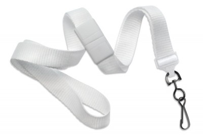 "White 5/8"" (16 mm) Breakaway Lanyard w/ Black-Oxide Swivel Hook (1000/Pkg)"