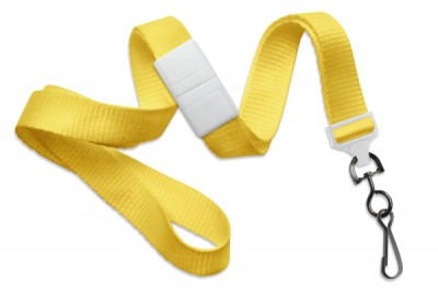 "Yellow 5/8"" (16 mm) Breakaway Lanyard w/ Black-Oxide Swivel Hook (1000/Pkg)"