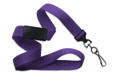 "Purple 5/8"" (16 mm) Breakaway Lanyard w/ Black-Oxide Swivel Hook (1000/Pkg)"