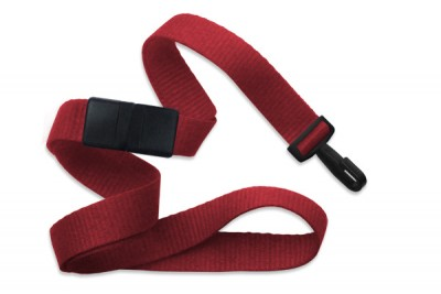 "Red 5/8"" (16 mm) Breakaway Lanyard w/ Narrow ""No-Twist"" Plastic Hook (1000/Pkg)"