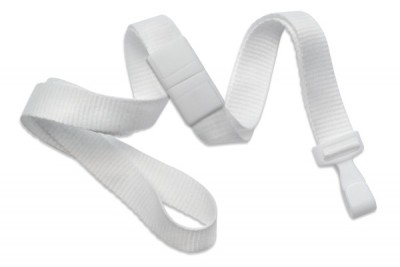 "White 5/8"" (16 mm) Breakaway Lanyard w/ Wide ""No-Twist"" Plastic Hook (100/Pkg)"