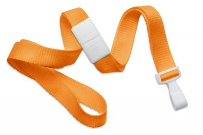 "Orange 5/8"" (16 mm) Breakaway Lanyard w/ Wide ""No-Twist"" Plastic Hook (100/Pkg)"