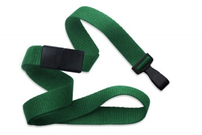 "Green 5/8"" (16 mm) Breakaway Lanyard w/ Wide ""No-Twist"" Plastic Hook (100/Pkg)"