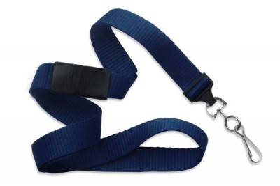 "Navy Blue 5/8"" (16 mm) Breakaway Lanyard w/ Nickel-Plated Steel Swivel Hook (100/Pkg)"