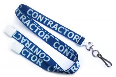 "Contractor 5/8"" (16 mm) Pre-Printed Lanyards (100/Pkg)"