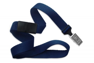 "Navy Blue 5/8"" (16 mm) Breakaway Lanyard w/ Nickel-Plated Steel Bulldog Clip (100/Pkg)"