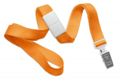 "Orange 5/8"" (16 mm) Breakaway Lanyard w/ Nickel-Plated Steel Bulldog Clip (100/Pkg)"