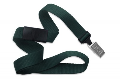 "Forest Green 5/8"" (16 mm) Breakaway Lanyard w/ Nickel-Plated Steel Bulldog Clip (100/Pkg)"