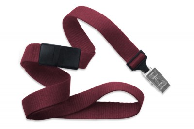 "Maroon 5/8"" (16 mm) Breakaway Lanyard w/ Nickel-Plated Steel Bulldog Clip (100/Pkg)"