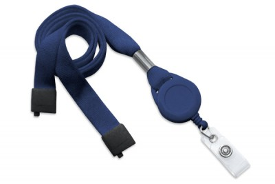 "Navy Blue 5/8"" (16 mm) Lanyard w/ Breakaway, Slotted Reel & Vinyl Strap (100/Pkg)"