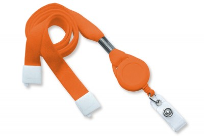 "Orange 5/8"" (16 mm) Lanyard w/ Breakaway, Slotted Reel & Vinyl Strap (100/Pkg)"