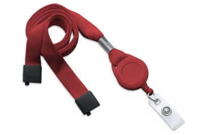 "Red 5/8"" (16 mm) Lanyard w/ Breakaway, Slotted Reel & Vinyl Strap (100/Pkg)"