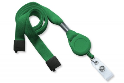 "Green 5/8"" (16 mm) Lanyard w/ Breakaway, Slotted Reel & Vinyl Strap (100/Pkg)"