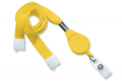 "Yellow 5/8"" (16 mm) Lanyard w/ Breakaway, Slotted Reel & Vinyl Strap (100/Pkg)"
