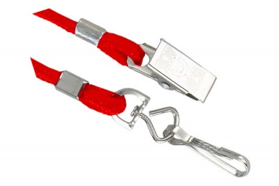 Red Open Ended Lanyard w/ Swivel Hook & Bulldog Clip (1000/Pkg)