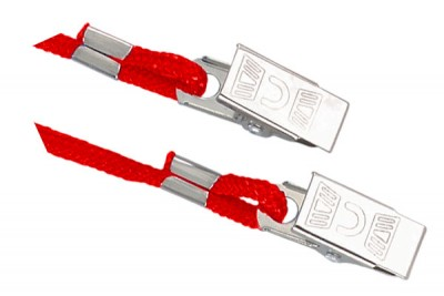 Red Open Ended Lanyard w/ 2 Bulldog Clips (1000/Pkg)