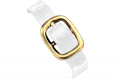 White Genuine Leather Luggage Strap with Brass-Plated Buckle, 3 Holes (5000/Pkg)