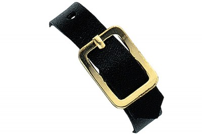 Black Genuine Leather Luggage Strap with Brass-Plated Buckle, 3 Holes (25/Pkg)