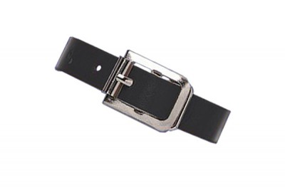 Black Genuine Leather Luggage Strap with Nickel-Plated Steel Buckle, 3 Holes (25/Pkg)