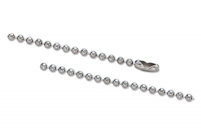 "Nickel-Plated Steel Ball Chain, 6"", No 3 Bead Size (5000/Pkg)"