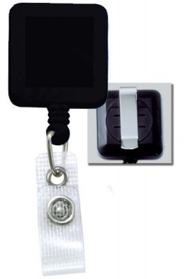 Black Badge Reel w/ Reinforced Vinyl Strap & Belt Clip (25/Pkg)