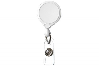 White Classic Mini-Bak Badge Holder Reel Id w/ Strap & Slide Clip (25/Pkg)