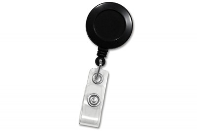 Black Round Badge Id Reel w/ Strap & Slide Clip (25/Pkg)