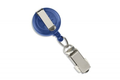 Royal Blue Round Badge Reel w/ Card Clamp & Slide Clip (25/Pkg)
