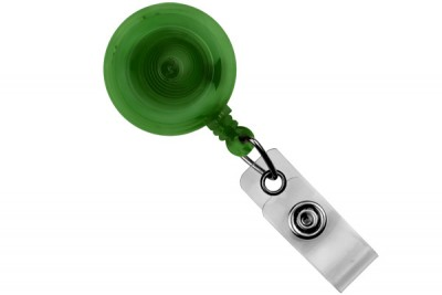 Translucent Green Round Badge Reel w/ Strap & Slide Clip (25/Pkg)