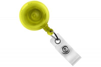 Translucent Yellow Round Badge Reel w/ Strap & Slide Clip (25/Pkg)