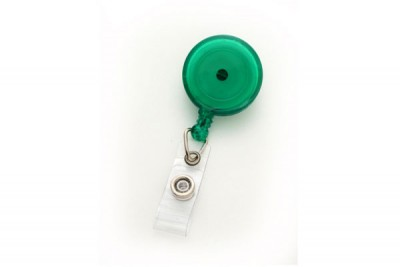 Translucent Green Round Badge Reel w/ Strap & Swivel Clip (25/Pkg)