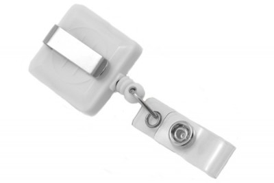 White Square Badge Reel w/ Strap & Slide Clip (25/Pkg)