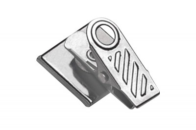 Pressure-Sensitive Nickel-Plated Clip w/ 1-Hole Ribbed Face (100/Pkg)