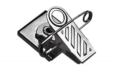 Pressure-Sensitive Nickel-Plated Pin/Clip Combination, 1-Hole Ribbed-Face (100/Pkg)