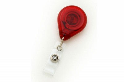 Translucent Red Premium Badge Reel w/ Strap & Slide Clip (25/Pkg)
