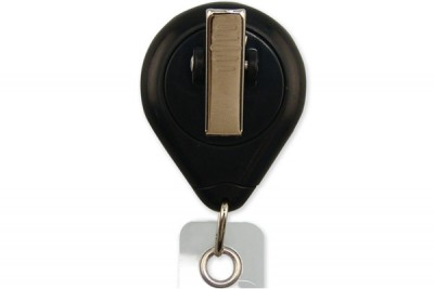 Black Premium Badge Reel w/ Strap & Swivel Clip (25/Pkg)